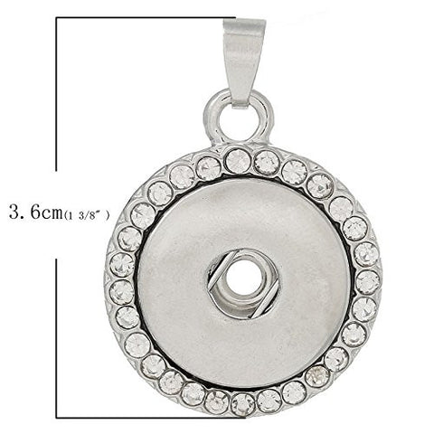 Rhinestone Pendant Fits Snaps Chunk Buttons - Sexy Sparkles Fashion Jewelry - 2