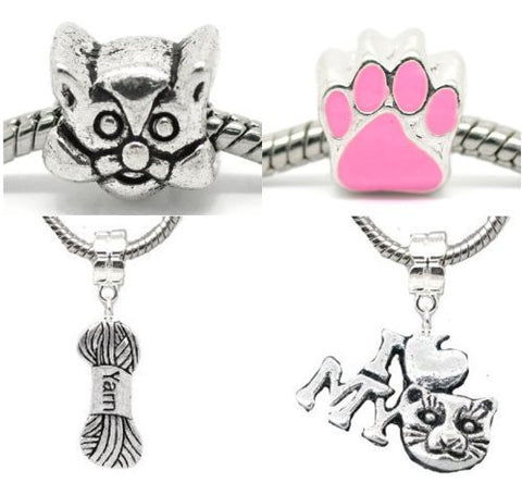 Cat Lovers Charm Beads For Snake Chain Bracelet - Sexy Sparkles Fashion Jewelry - 2