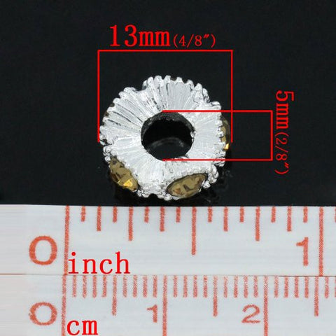 Flower with Yellow Rhinestones Charm Spacer For Snake Chain Charm Bracelets - Sexy Sparkles Fashion Jewelry - 2