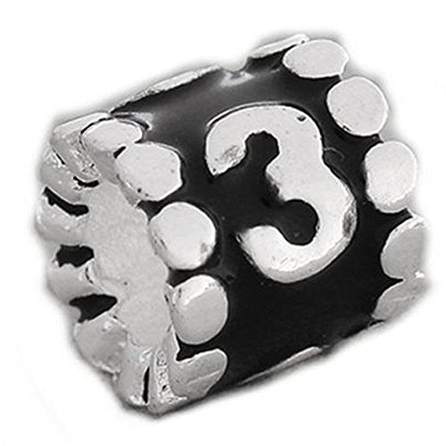 "Black Enamel Number  ""3"" Charm Compatible with European Snake Chain Charm Bracelet - Sexy Sparkles Fashion Jewelry - 1"