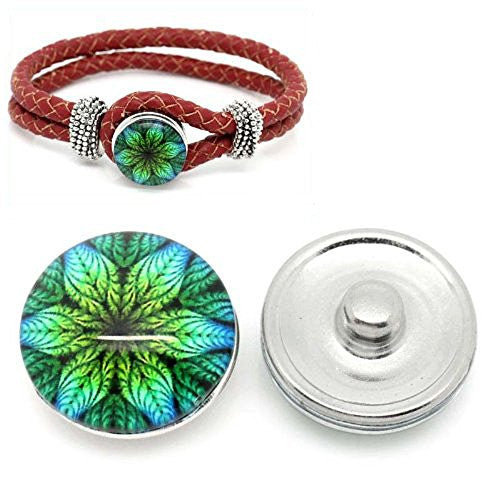 Flower Leaf Design Glass Button Fits Chunk Bracelet 18mm for Noosa Style Chunk Leather Bracelets