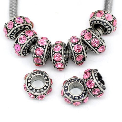 Five (5)October Birthstone  Rose Pink Rhinestone Spacer Beads For Snake Chain Charm Bracelet