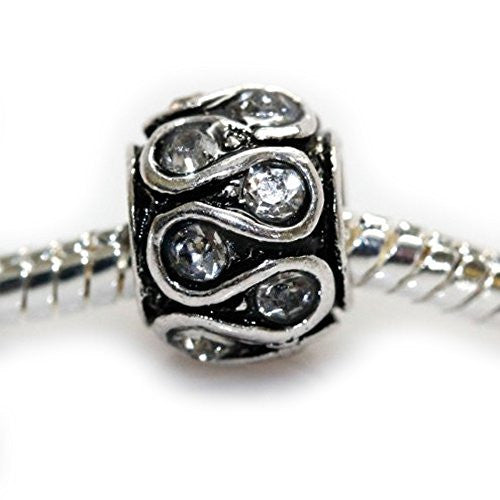 Clear Diamond  crystals Swirl Charm European Bead Compatible for Most European Snake Chain Bracelet