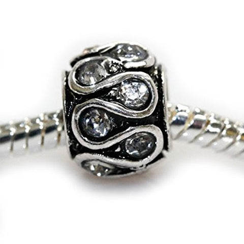 Clear Diamond  crystals Swirl Charm European Bead Compatible for Most European Snake Chain Bracelet - Sexy Sparkles Fashion Jewelry - 1