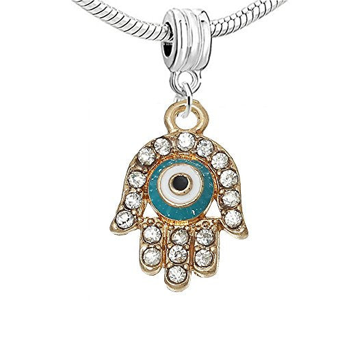 Hamsa Symbol Hand Against Evil Eye Charm European Bead Compatible for Most European Snake Chain Bracelet