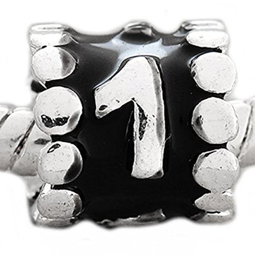 "Black Enamel Number Charm Bead  ""1"" European Bead Compatible for Most European Snake Chain Charm Bracelets"