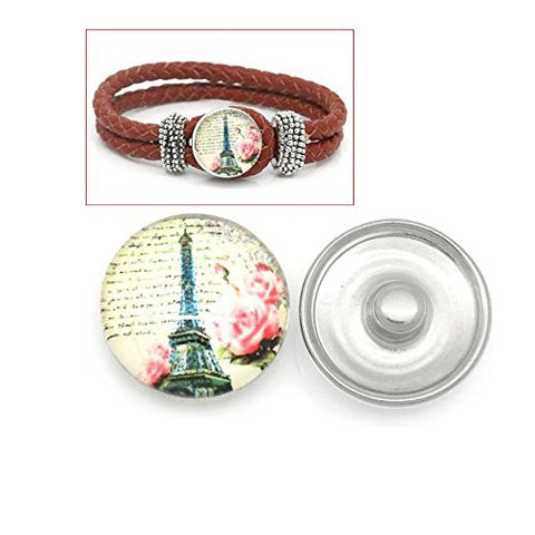 Vintage Eiffel Tower Design Glass Chunk Charm Button Fits Chunk Bracelet - Sexy Sparkles Fashion Jewelry - 1