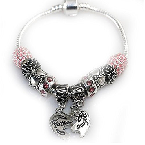 "6.5"" Mother Daughter Charm Bracelet Fits Beads For European Snake Chain Charms"
