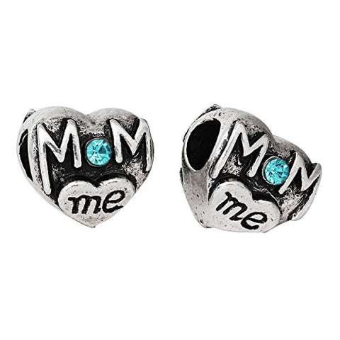 Mom and Me Heart W/Blue Rhinestones Charm Spacer European Bead Compatible for Most European Snake Chain Bracelet - Sexy Sparkles Fashion Jewelry - 2