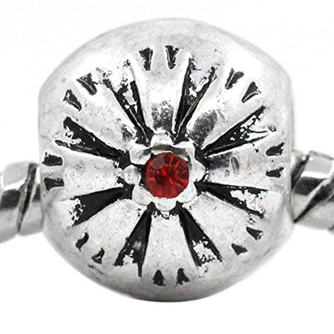 Flower Pattern Bead Spacer for Snake Chain Bracelets (Red) - Sexy Sparkles Fashion Jewelry - 1