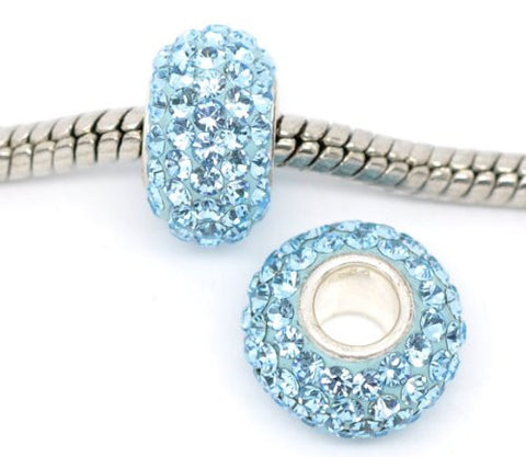 Aqua Blue  Crystal Pave European Charm - Sexy Sparkles Fashion Jewelry - 2