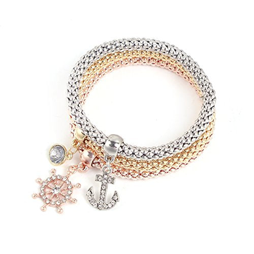 Sexy Sparkles Stretch Bracelets Ship Anchor 3PCS Gold/Silver/Rose Gold Plated Popcorn Chain with Crystal Charms Multilayer Bracelets for Women