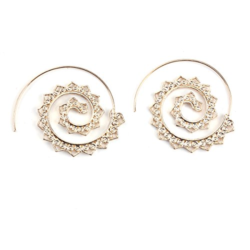 Sexy Sparkles Vintage Bohemian Spiral Earring Circles Round Tribal Hoop Earrings