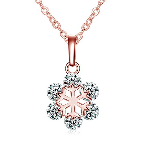 Sexy Sparkles Rose Gold Tone Necklace Christmas Snowflake Pendant with Cubic Zirconia