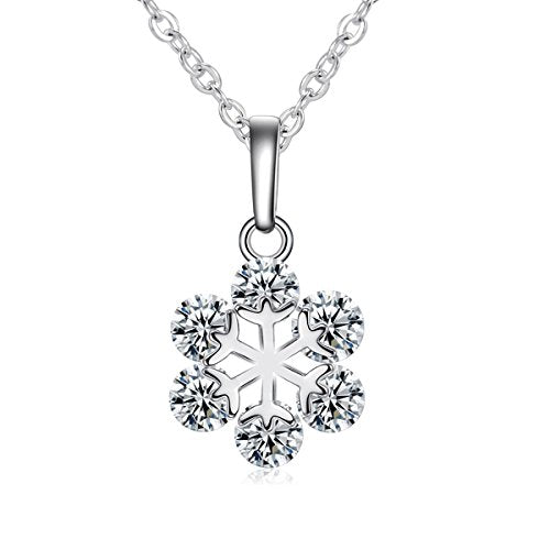 Sexy Sparkles Silver Tone Necklace Christmas Snowflake Pendant with Cubic Zirconia