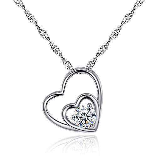 "Sexy Sparkles Double Hearts Cubic Zircon Silver Tone Pendant Necklace 18 4/8"" Silver Tone Mothers day gift idea"