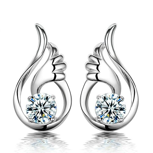 Sexy Sparkles wings Ear Post Stud Earrings Cubic Zirconia women girls teens jewelry