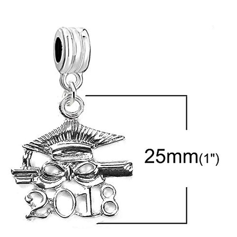 SEXY SPARKLES 2018 Graduation Diploma and Cap Charm Bead for European Snake Chain Charm Bracelet