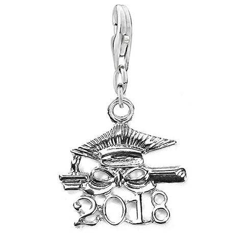 SEXY SPARKLES Diploma Class of 2018 Graduation clip on lobster clasp charm for bracelets or necklace