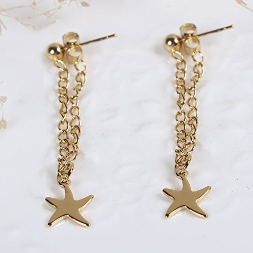 SEXY SPARKLES stainless steel Starfish Dangling Chain stud earrings for girls teens women Hypoallergenic