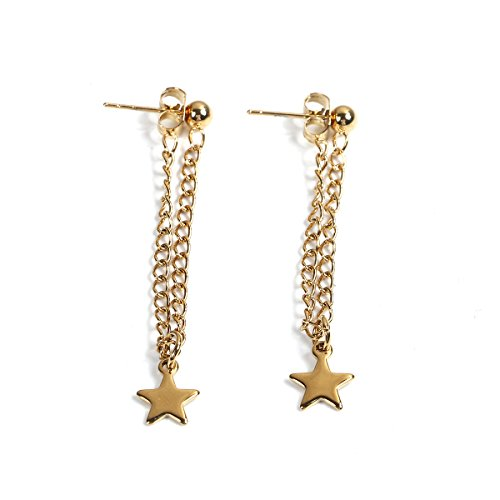 SEXY SPARKLES stainless steel Dangling chain star stud earrings for girls teens women Hypoallergenic