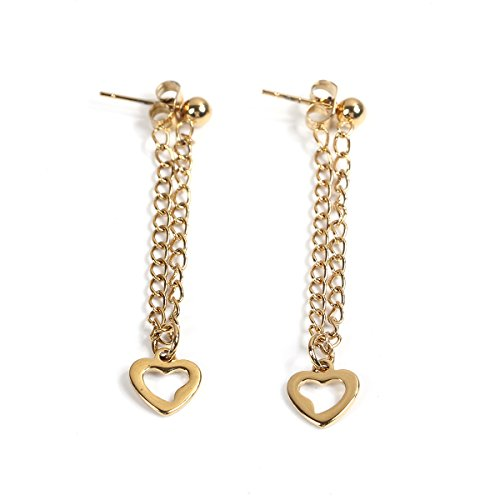 SEXY SPARKLES stainless steel Chain Heart stud earrings for girls teens women Hypoallergenic
