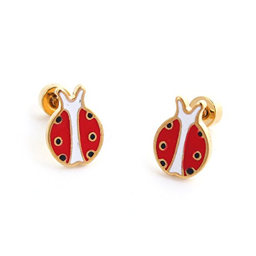 SEXY SPARKLES stainless steel Lady Bug stud earrings for girls teens women Hypoallergenic Jewelry