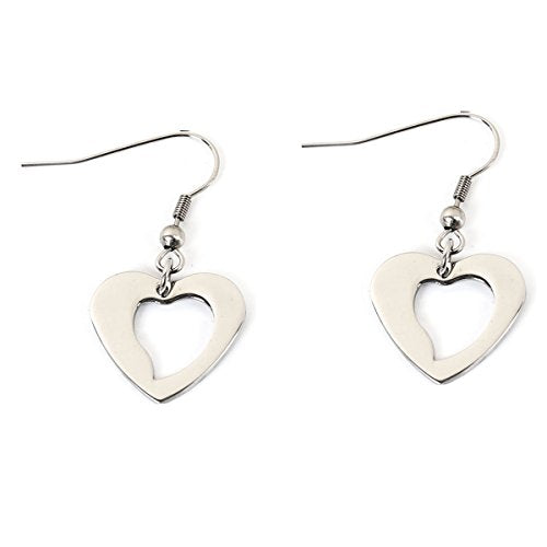 SEXY SPARKLES stainless steel Heart dangling small earrings for girls teens women Hypoallergenic jewelry