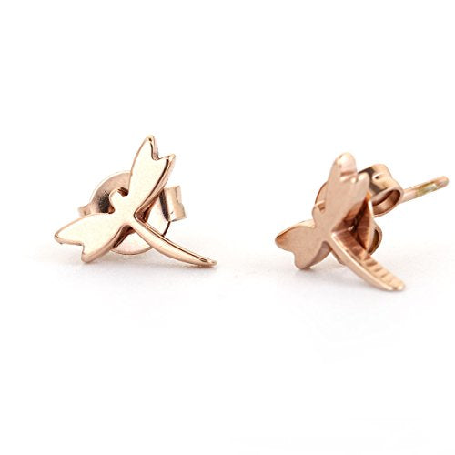 SEXY SPARKLES stainless steel Rose Gold Dragonfly stud earrings for girls teens women Hypoallergenic jewelry
