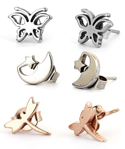 SEXY SPARKLES Set of 3 Pairs Butterfly, Star moon an Dragon Fly stainless steel stud earrings for girls teens women Hypoallergenic