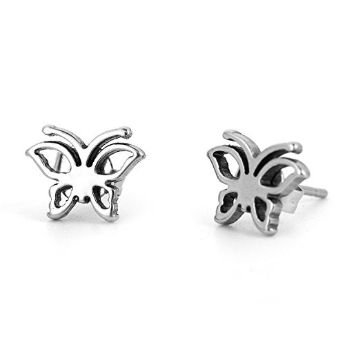 SEXY SPARKLES stainless steel small Butterfly stud earrings for girls teens women Hypoallergenic jewelry