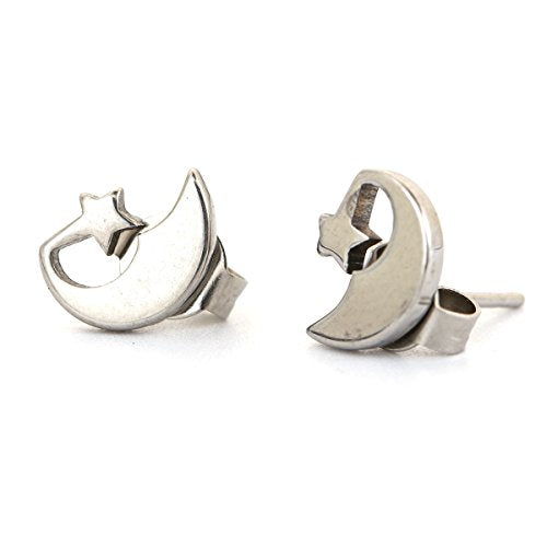 SEXY SPARKLES stainless steel Moon & star stud earrings for girls teens women Hypoallergenic