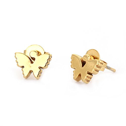 SEXY SPARKLES stainless steel butterfly stud earrings for girls teens women Hypoallergenic