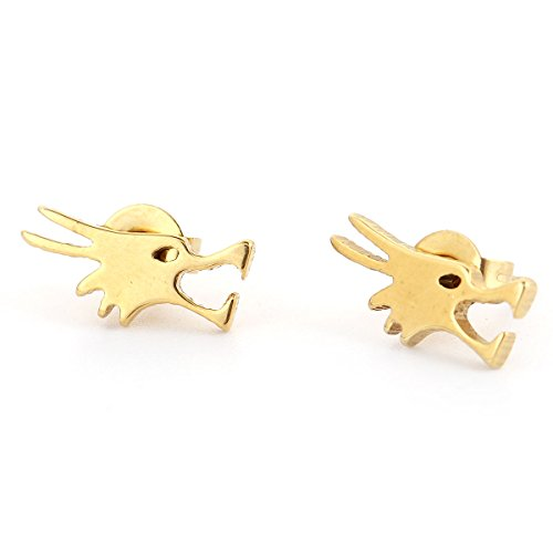 SEXY SPARKLES stainless steel Dragon stud earrings for girls teens women Hypoallergenic
