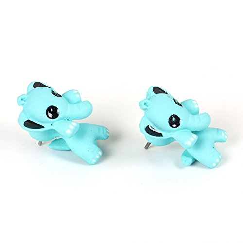 Sexy Sparkles Blue Elephant 3D Double Sided Ear Post Stud Earrings