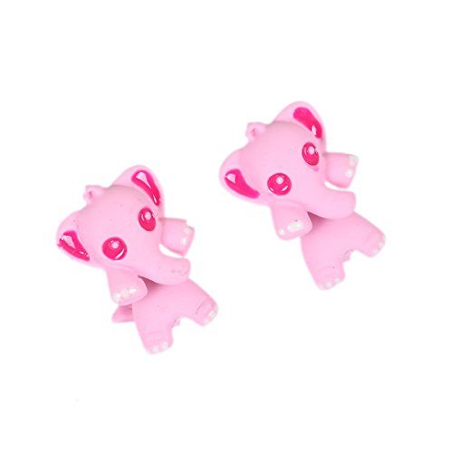 Sexy Sparkles Pink Elephant 3D Double Sided Ear Post Stud Earrings