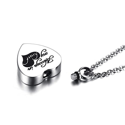 "Sexy Sparkles Cremation Ash Urn Necklace ""Always in my heart"" Stainless Steel 20 1/8"""