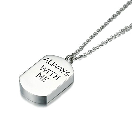 "Sexy Sparkles Cremation Ash Urn Necklace "" ALWAYS WITH ME "" Titanium Steel 20 1/8"""