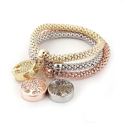 SEXY SPARKLES Stretch Bracelets 3PCS Tree Gold/Silver/Rose Gold Plated Popcorn Chain with Crystal Charms Multilayer Bracelets for Women