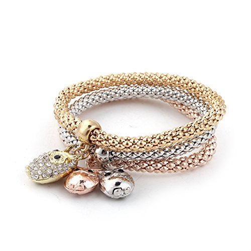 Sexy Sparkles Stretch Bracelets I's 3PCS Gold/Silver/Rose Gold Plated Popcorn Chain with Crystal Charms Multilayer Bracelets for Women