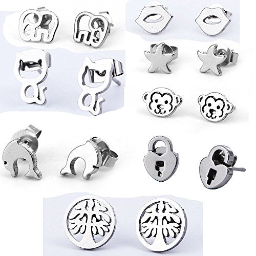 Sexy Sparkles 8  Pairs small stainless steel stud earrings for women girls