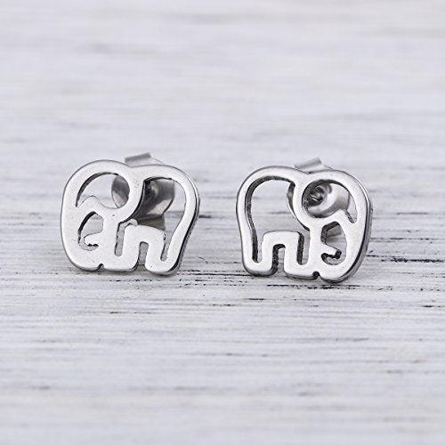 Sexy Sparkles stainless steel Elephant  stud earrings for women girls