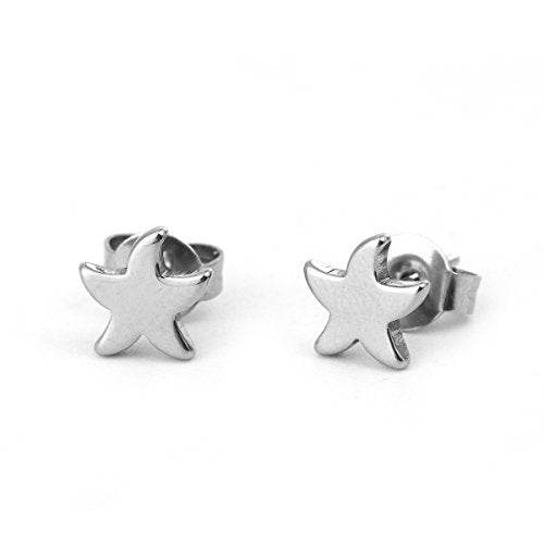Sexy Sparkles Starfish  stainless steel stud earrings for women girls