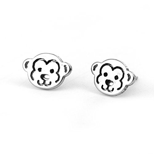 Sexy Sparkles Monkey stainless steel stud earrings for women girls