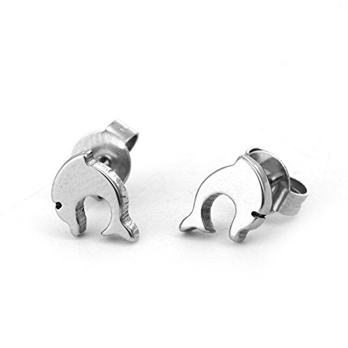 Sexy Sparkles Dolphin stainless steel stud earrings for women girls