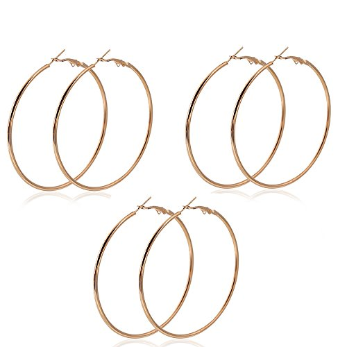 "SEXY SPARKLES Set of 3 Pairs 3 1/8""  Rounded Hoop Earrings Silver Tone or Gold Plated"