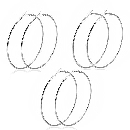 "SEXY SPARKLES 3 Pairs 3 1/8"" Rounded Hoop Earrings Silver Tone or Gold Plated"