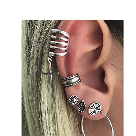 Sexy Sparkles Cuff Earrings Set Ear Crawler Earring Climber Stud Ear Wrap Pin Vine Tribal Charm Vintage Clip On Jewelry