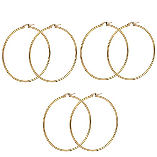"Sexy Sparkles 3 Pairs Surgical Stainless Steel Hypoallergenic Round Hoop Earrings Set for Women (3 Pairs(3"" x2 7/8""))"