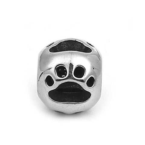 SEXY SPARKLES Stainless Steel Dog Paw Footprint Charm Spacer Bead for Bracelets